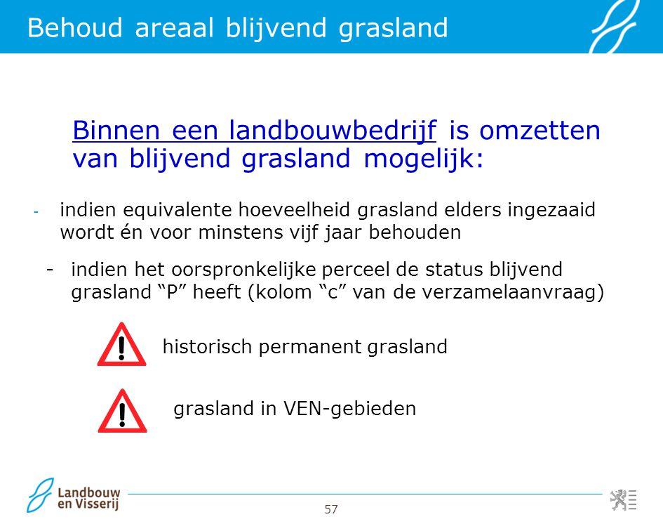 57 Behoud areaal blijvend grasland - indien equivalente hoeveelheid grasland elders ingezaaid wordt én voor minstens vijf jaar behouden Binnen een lan