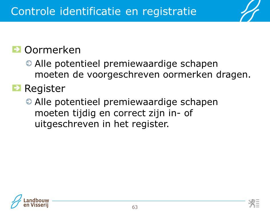 63 Controle identificatie en registratie Oormerken Alle potentieel premiewaardige schapen moeten de voorgeschreven oormerken dragen. Register Alle pot