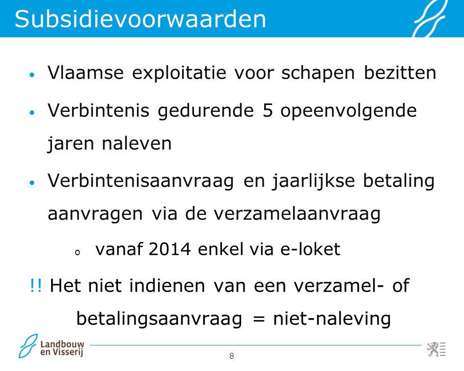 8 Vlaamse exploitatie voor schapen bezitten Verbintenis gedurende 5 opeenvolgende jaren naleven Verbintenisaanvraag en jaarlijkse betaling aanvragen v