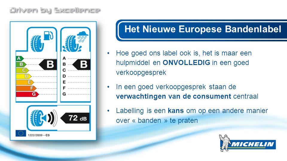 Hoe goed ons label ook is, het is maar een hulpmiddel en ONVOLLEDIG in een goed verkoopgesprek In een goed verkoopgesprek staan de verwachtingen van de consument centraal Labelling is een kans om op een andere manier over « banden » te praten Het Nieuwe Europese Bandenlabel
