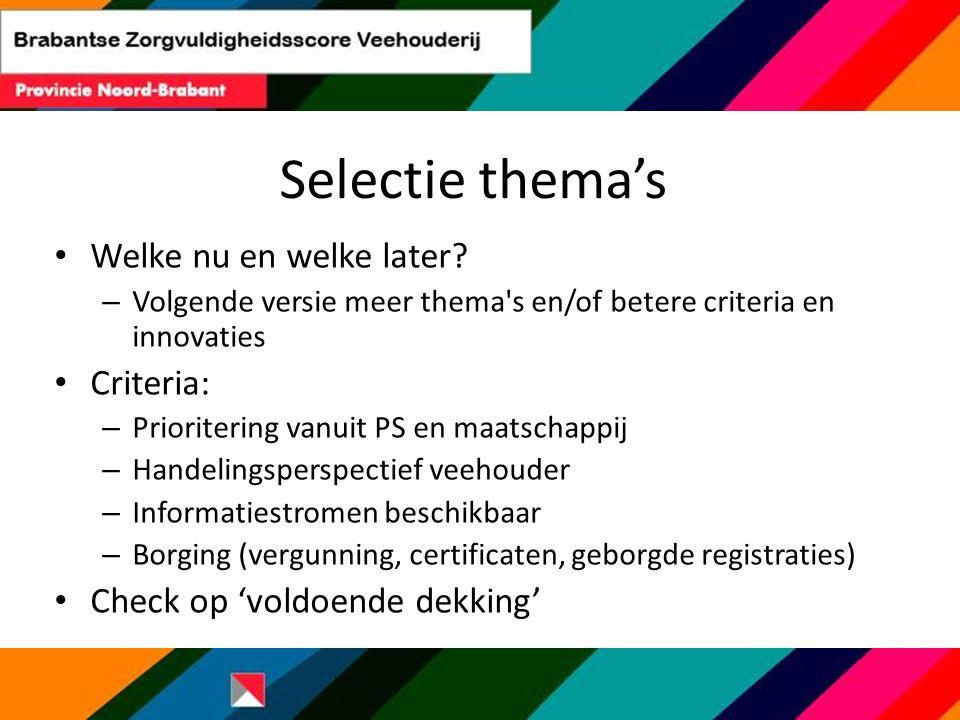 Selectie thema's Welke nu en welke later? – Volgende versie meer thema's en/of betere criteria en innovaties Criteria: – Prioritering vanuit PS en maa
