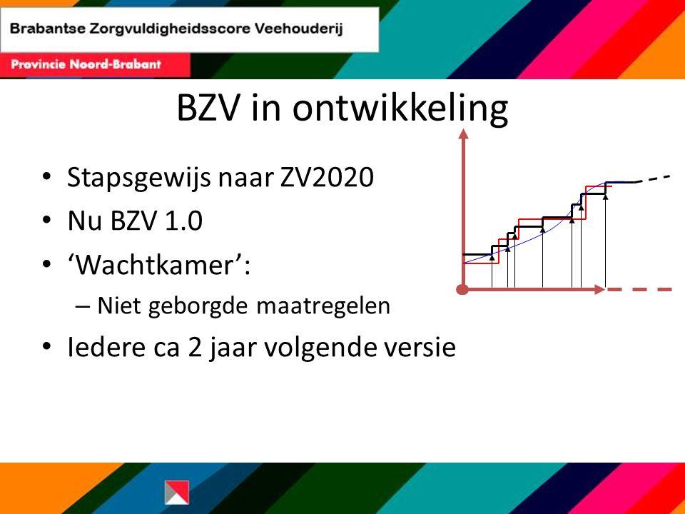 BZV in ontwikkeling Stapsgewijs naar ZV2020 Nu BZV 1.0 'Wachtkamer': – Niet geborgde maatregelen Iedere ca 2 jaar volgende versie