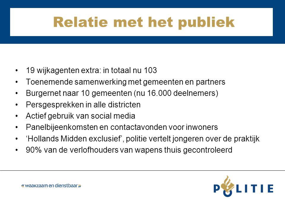 Relatie met het publiek 19 wijkagenten extra: in totaal nu 103 Toenemende samenwerking met gemeenten en partners Burgernet naar 10 gemeenten (nu 16.00