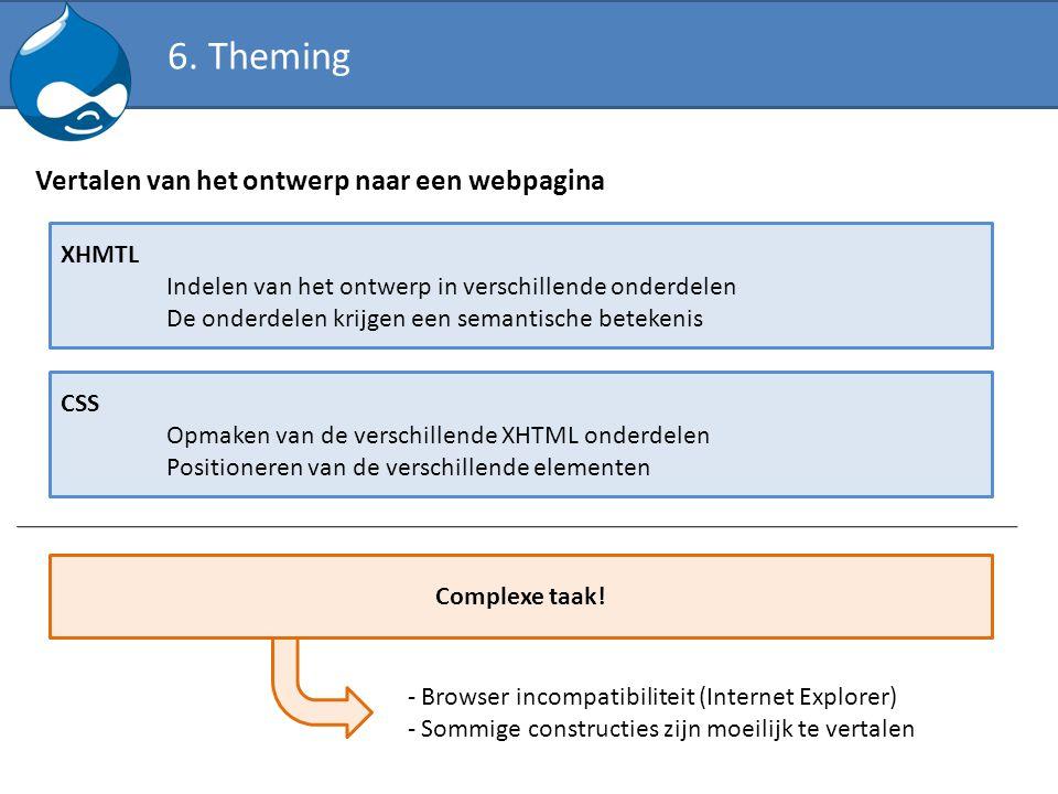 Vertalen van het ontwerp naar een webpagina XHMTL Indelen van het ontwerp in verschillende onderdelen De onderdelen krijgen een semantische betekenis