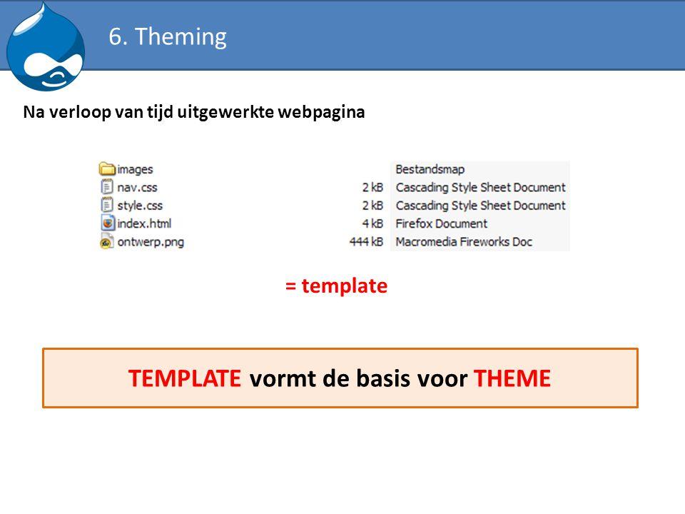 Na verloop van tijd uitgewerkte webpagina = template TEMPLATE vormt de basis voor THEME 6. Theming