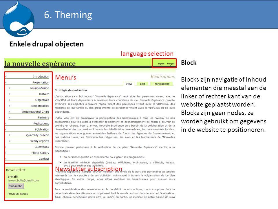 Enkele drupal objecten Block Blocks zijn navigatie of inhoud elementen die meestal aan de linker of rechter kant van de website geplaatst worden. Bloc