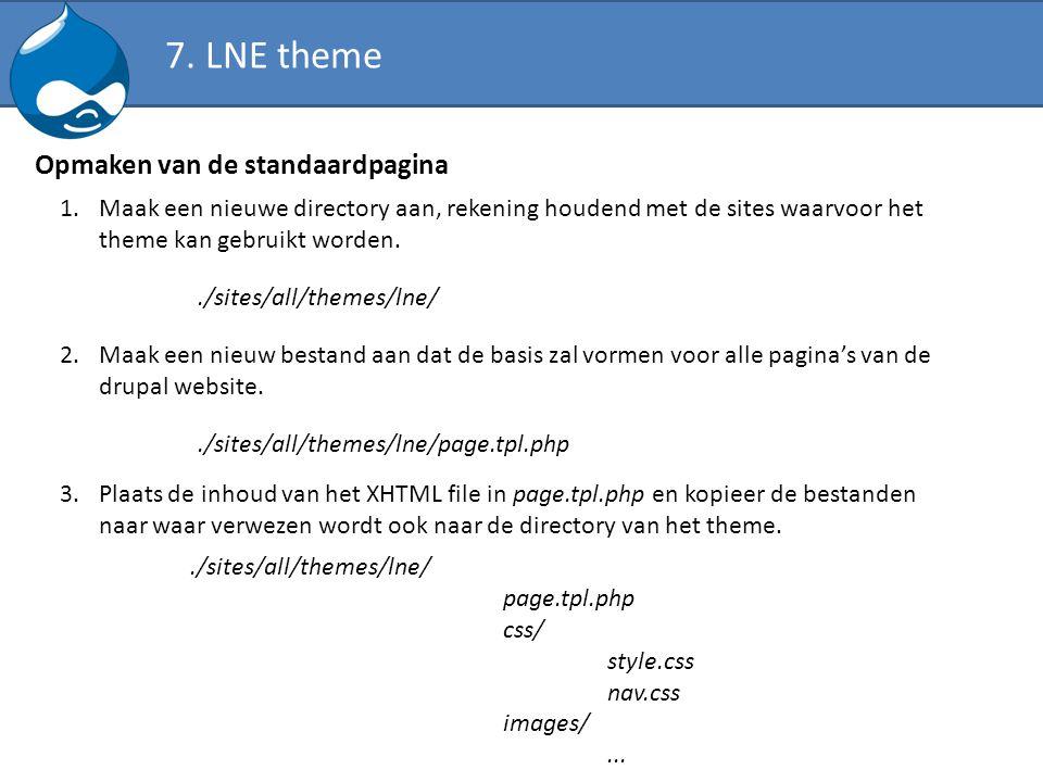 7. LNE theme Opmaken van de standaardpagina 1.Maak een nieuwe directory aan, rekening houdend met de sites waarvoor het theme kan gebruikt worden../si