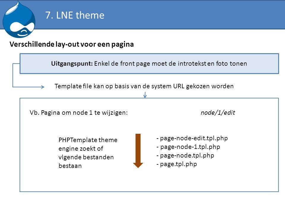 Verschillende lay-out voor een pagina Uitgangspunt: Enkel de front page moet de introtekst en foto tonen Template file kan op basis van de system URL