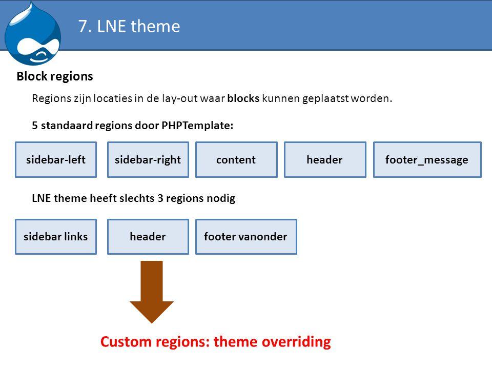 Block regions Regions zijn locaties in de lay-out waar blocks kunnen geplaatst worden. sidebar-leftsidebar-rightcontentheaderfooter_message 5 standaar
