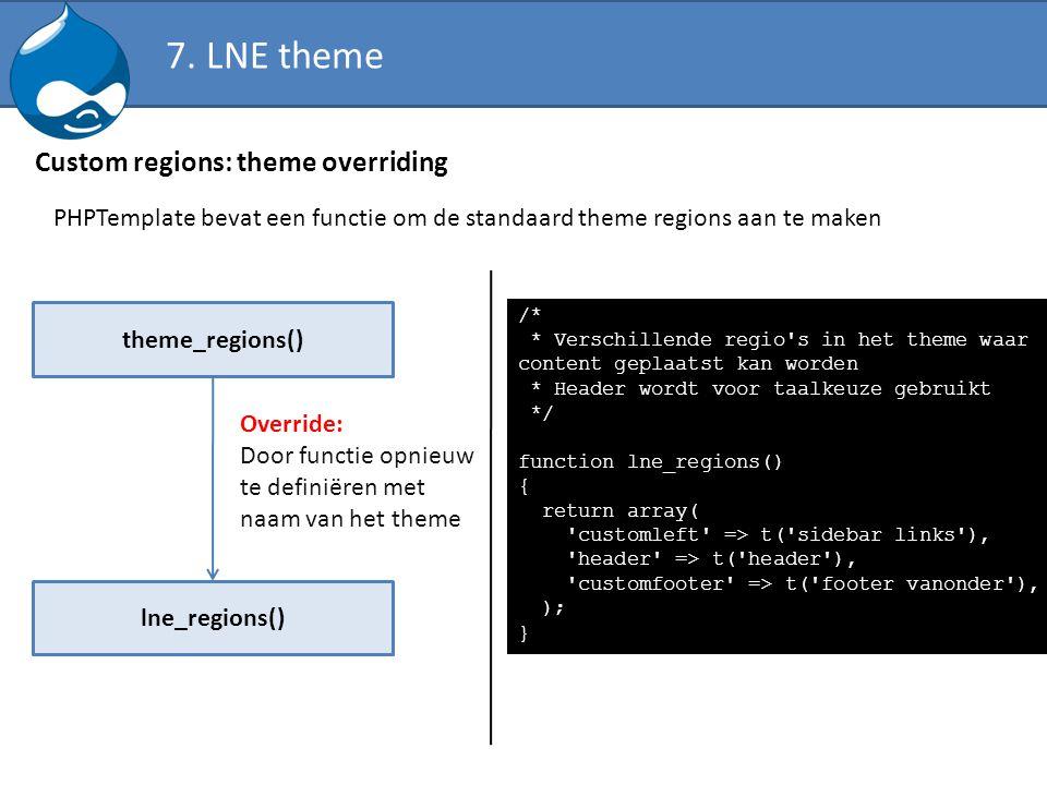 Custom regions: theme overriding PHPTemplate bevat een functie om de standaard theme regions aan te maken theme_regions() lne_regions() Override: Door