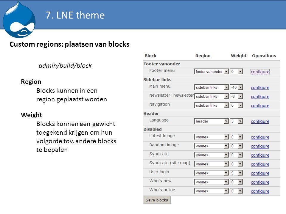 Custom regions: plaatsen van blocks admin/build/block Blocks kunnen in een region geplaatst worden Blocks kunnen een gewicht toegekend krijgen om hun
