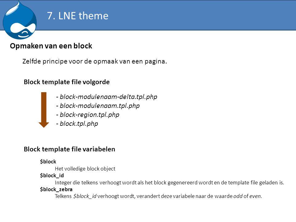 Opmaken van een block Zelfde principe voor de opmaak van een pagina. - block-modulenaam-delta.tpl.php - block-modulenaam.tpl.php - block-region.tpl.ph
