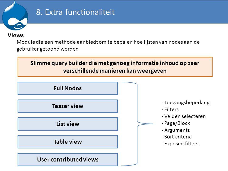 Views Module die een methode aanbiedt om te bepalen hoe lijsten van nodes aan de gebruiker getoond worden Slimme query builder die met genoeg informat