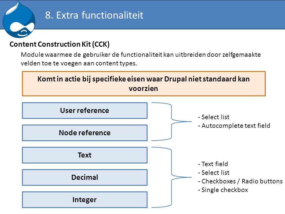 Content Construction Kit (CCK) Module waarmee de gebruiker de functionaliteit kan uitbreiden door zelfgemaakte velden toe te voegen aan content types.