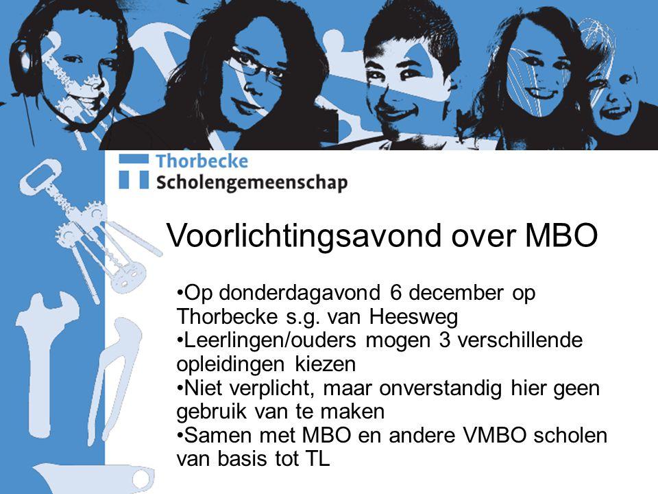 Voorlichtingsavond over MBO Op donderdagavond 6 december op Thorbecke s.g. van Heesweg Leerlingen/ouders mogen 3 verschillende opleidingen kiezen Niet