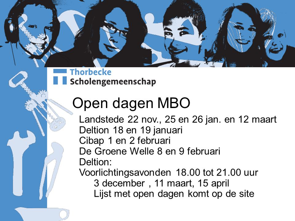 Open dagen MBO Landstede 22 nov., 25 en 26 jan.