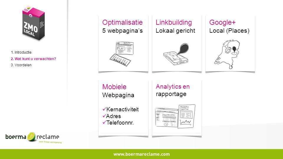 1. Introductie 2. Wat kunt u verwachten? 3. Voordelen Analytics en rapportage Optimalisatie 5 webpagina's Linkbuilding Lokaal gericht Mobiele Webpagin