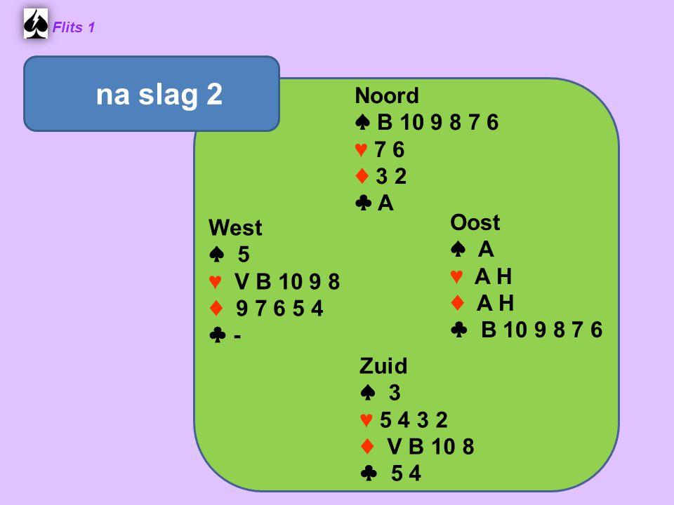 Flits 1 Noord ♠ B 10 9 8 7 6 ♥ 7 6 ♦ 3 2 ♣ A Oost ♠ A ♥ A H ♦ A H ♣ B 10 9 8 7 6 Zuid ♠ 3 ♥ 5 4 3 2 ♦ V B 10 8 ♣ 5 4 West ♠ 5 ♥ V B 10 9 8 ♦ 9 7 6 5 4 ♣ - na slag 2