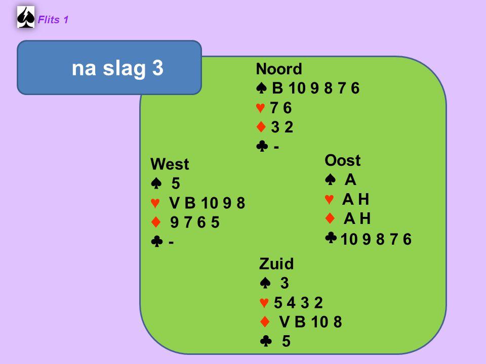 Flits 1 Noord ♠ B 10 9 8 7 6 ♥ 7 6 ♦ 3 2 ♣ - Oost ♠ A ♥ A H ♦ A H ♣ Zuid ♠ 3 ♥ 5 4 3 2 ♦ V B 10 8 ♣ 5 West ♠ 5 ♥ V B 10 9 8 ♦ 9 7 6 5 ♣ - na slag 3 10 9 8 7 6