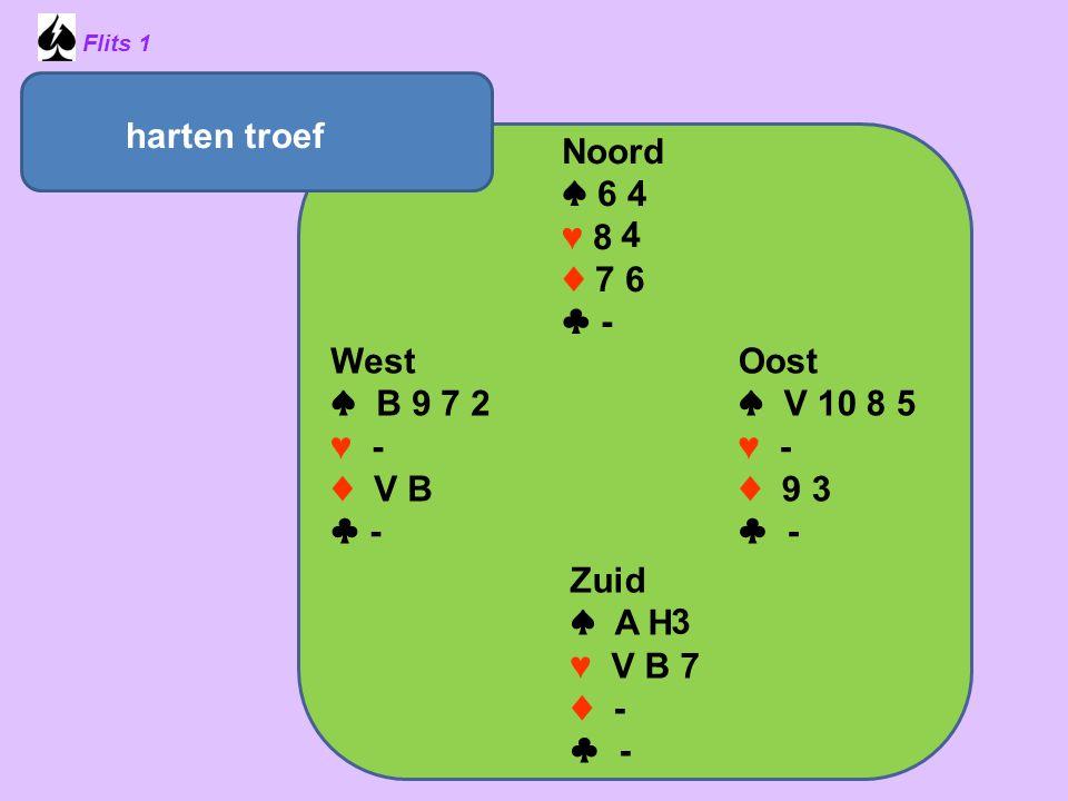 Flits 1 Noord ♠ 6 4 ♥ 8 ♦ 7 6 ♣ - Oost ♠ V 10 8 5 ♥ - ♦ 9 3 ♣ - Zuid ♠ A H ♥ V B 7 ♦ - ♣ - West ♠ B 9 7 2 ♥ - ♦ V B ♣ - harten troef 3 4