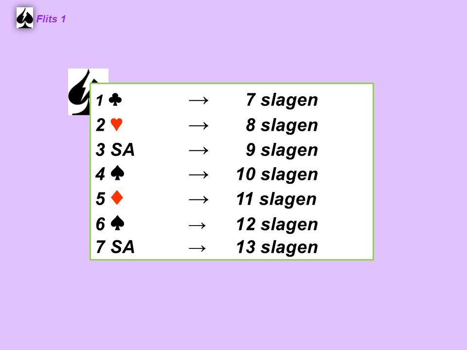 1 ♣ → 7 slagen 2 ♥ → 8 slagen 3 SA → 9 slagen 4 ♠→ 10 slagen 5 ♦→ 11 slagen 6 ♠ →12 slagen 7 SA→13 slagen