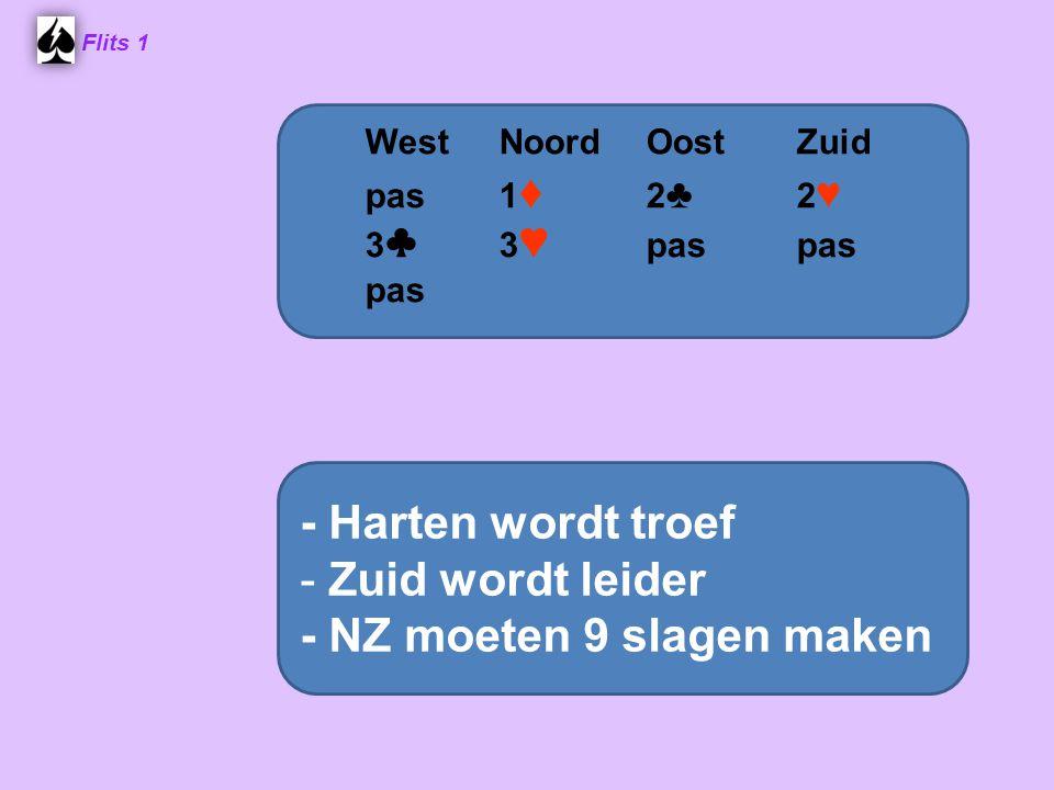 Flits 1 West NoordOost Zuid pas 1 ♦ 2 ♣ 2 ♥ 3 ♣ 3 ♥ pas pas pas - Harten wordt troef - Zuid wordt leider - NZ moeten 9 slagen maken