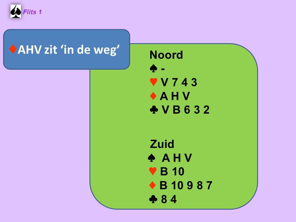 Flits 1 Noord ♠ - ♥ V 7 4 3 ♦ A H V ♣ V B 6 3 2 Zuid ♠ A H V ♥ B 10 ♦ B 10 9 8 7 ♣ 8 4 ♦ AHV zit 'in de weg'