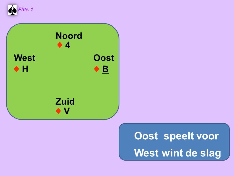 Noord West Oost Zuid ♦ V♦ V ♦ B♦ B ♦ 4♦ 4 ♦ H♦ H Flits 1 Oost speelt voor West wint de slag