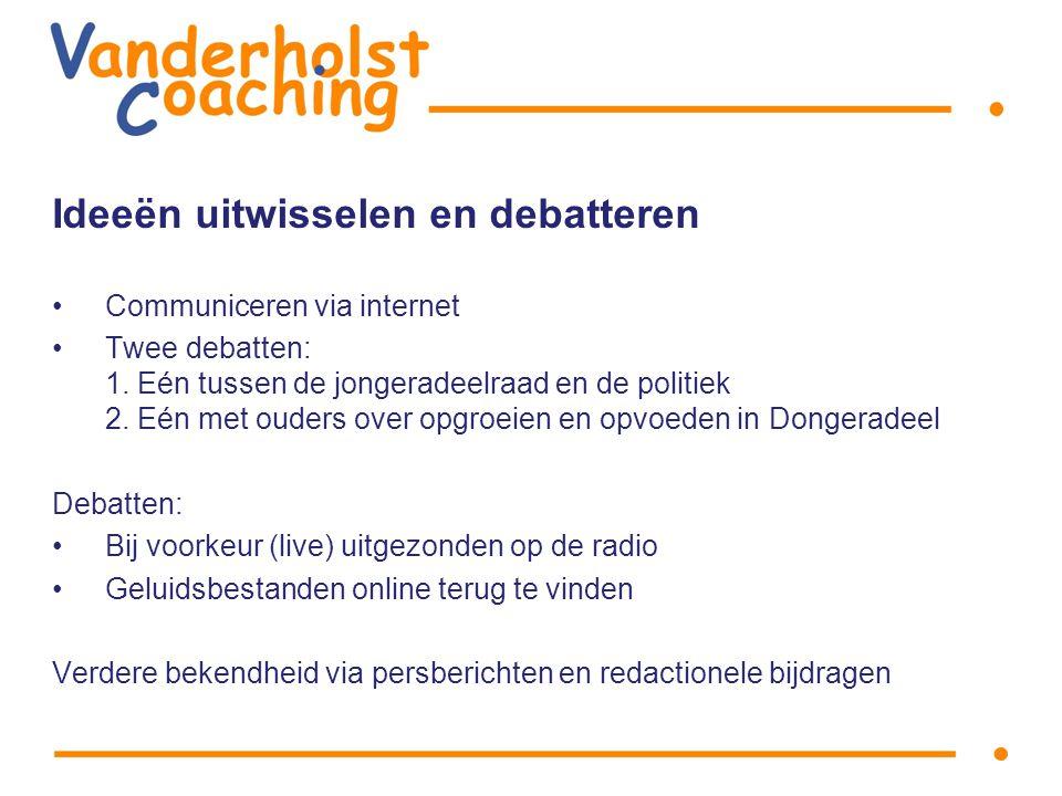 Ideeën uitwisselen en debatteren Communiceren via internet Twee debatten: 1.