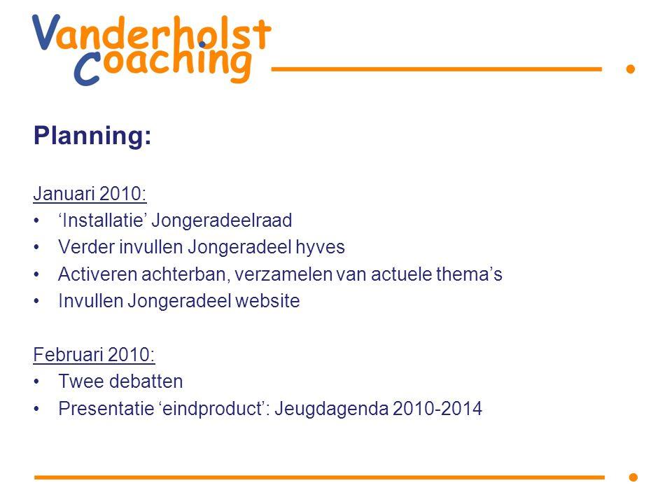 Planning: Januari 2010: 'Installatie' Jongeradeelraad Verder invullen Jongeradeel hyves Activeren achterban, verzamelen van actuele thema's Invullen Jongeradeel website Februari 2010: Twee debatten Presentatie 'eindproduct': Jeugdagenda 2010-2014
