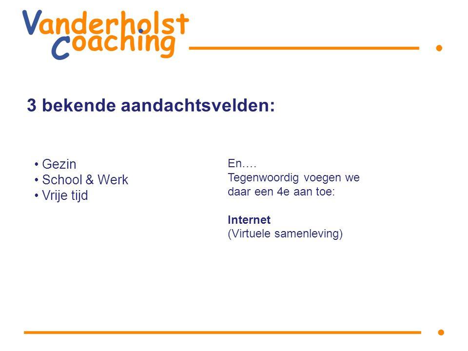 3 bekende aandachtsvelden: Gezin School & Werk Vrije tijd En….