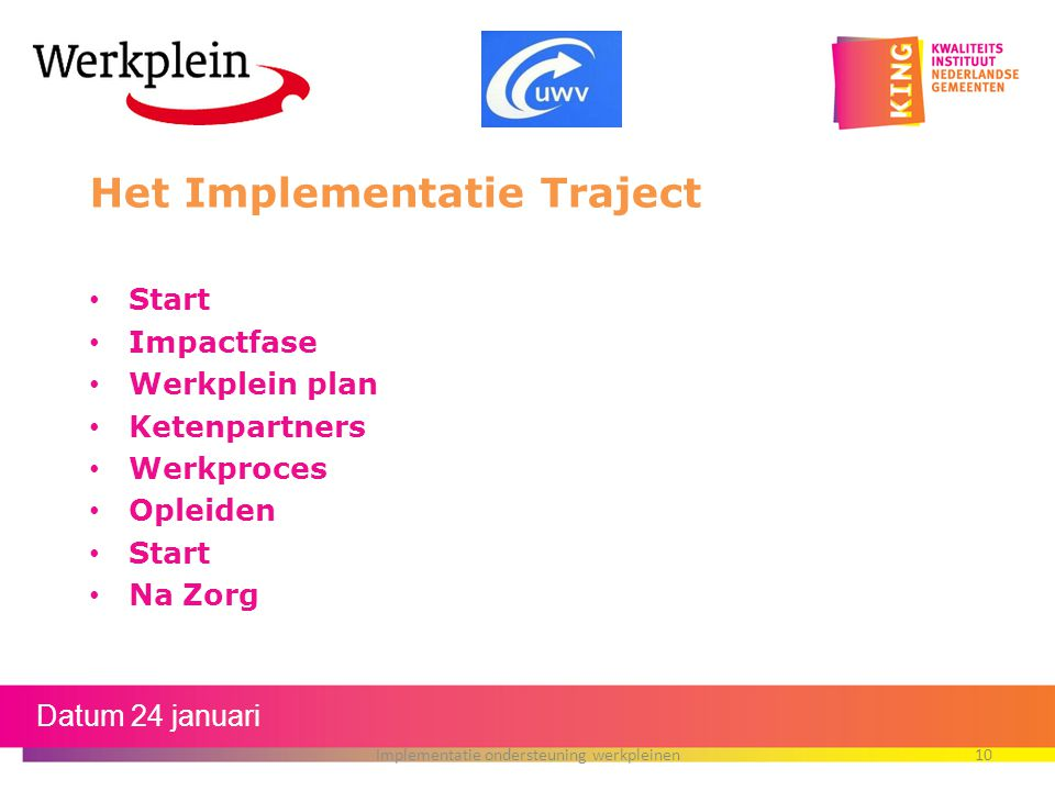 Het Implementatie Traject Start Impactfase Werkplein plan Ketenpartners Werkproces Opleiden Start Na Zorg Datum 24 januari Implementatie ondersteuning