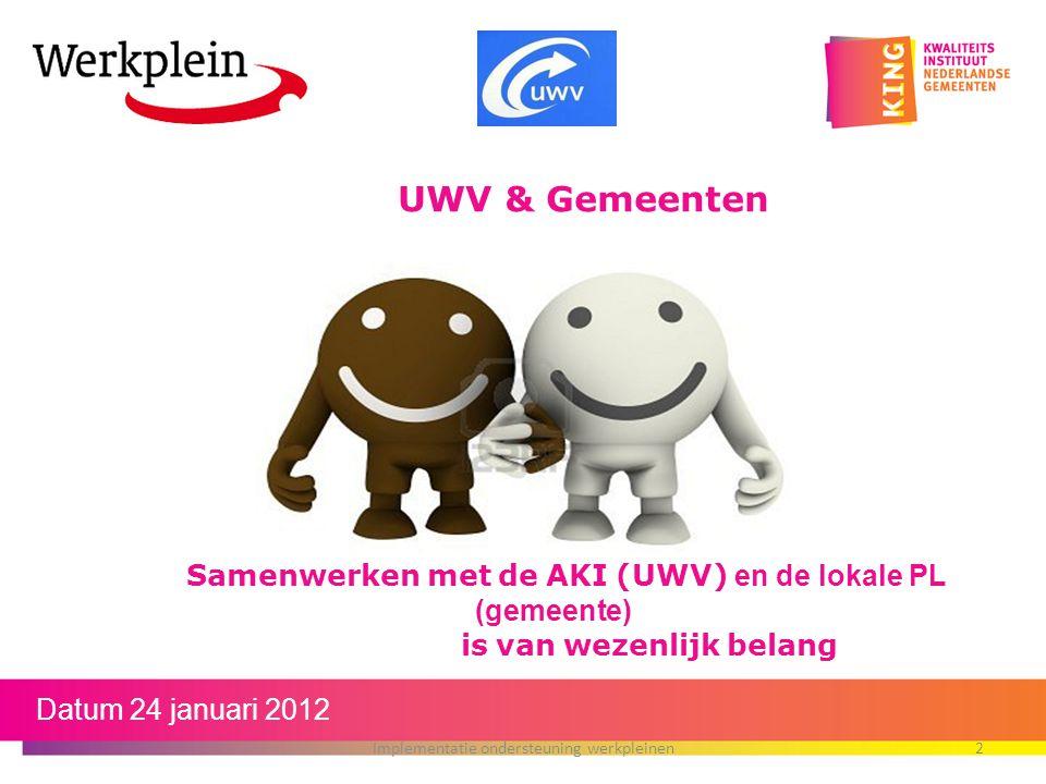 Datum 24 januari 2012 Implementatie ondersteuning werkpleinen2 Samenwerken met de AKI (UWV) en de lokale PL (gemeente) is van wezenlijk belang UWV & G
