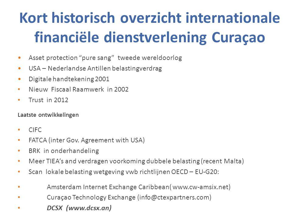 Kort historisch overzicht internationale financiële dienstverlening Curaçao Asset protection pure sang tweede wereldoorlog USA – Nederlandse Antillen belastingverdrag Digitale handtekening 2001 Nieuw Fiscaal Raamwerk in 2002 Trust in 2012 Laatste ontwikkelingen CIFC FATCA (inter Gov.