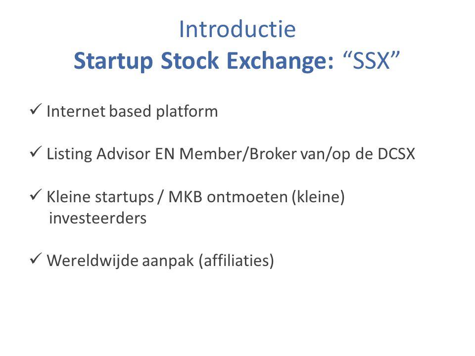 Introductie Startup Stock Exchange: SSX Internet based platform Listing Advisor EN Member/Broker van/op de DCSX Kleine startups / MKB ontmoeten (kleine) investeerders Wereldwijde aanpak (affiliaties)