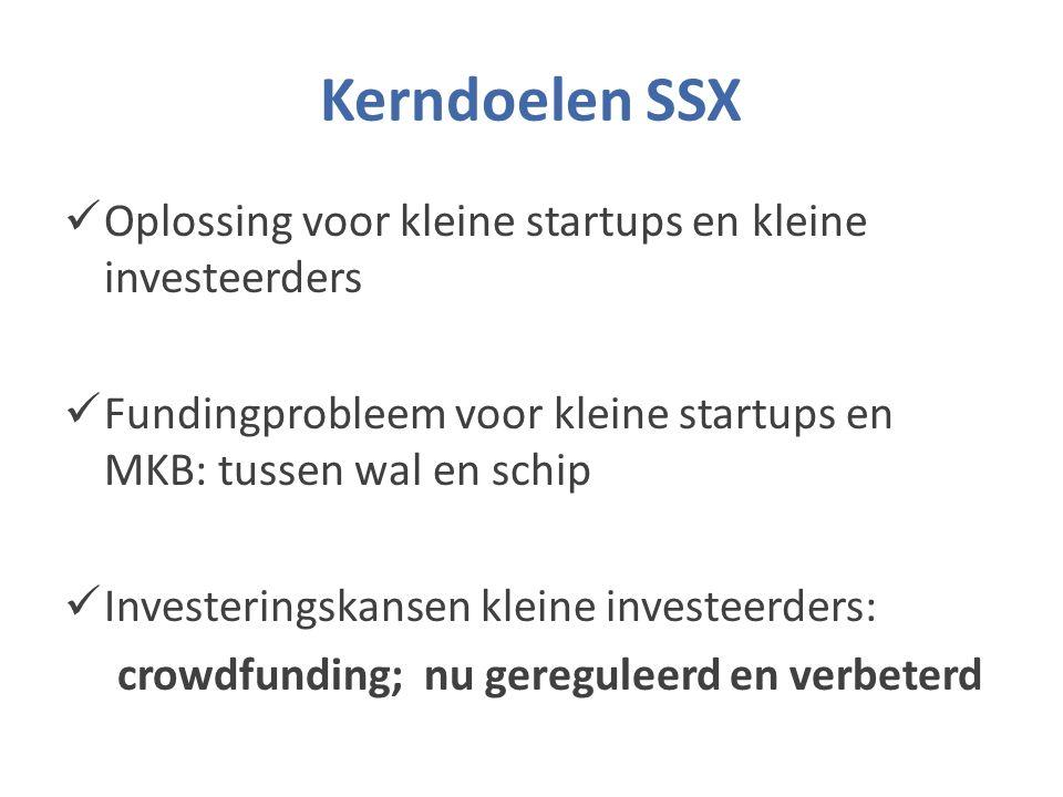 Kerndoelen SSX Oplossing voor kleine startups en kleine investeerders Fundingprobleem voor kleine startups en MKB: tussen wal en schip Investeringskansen kleine investeerders: crowdfunding; nu gereguleerd en verbeterd