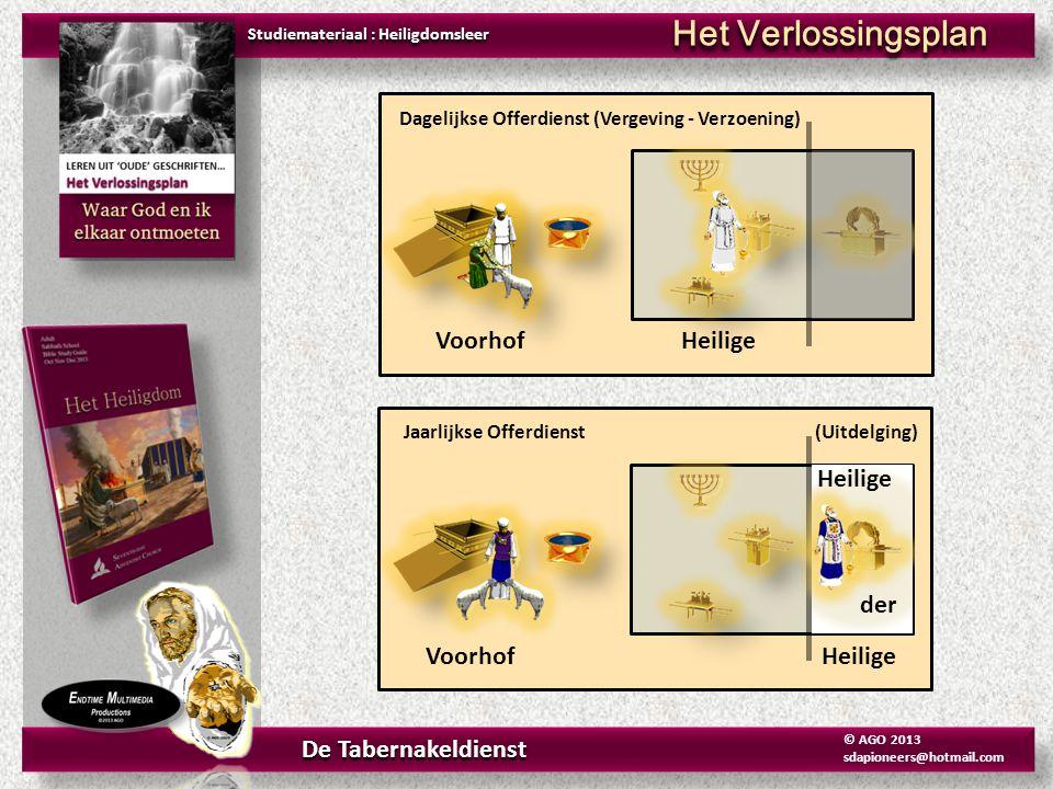 Studiemateriaal : Heiligdomsleer Het Verlossingsplan De Tabernakeldienst © AGO 2013 sdapioneers@hotmail.com Dagelijkse Offerdienst (Vergeving - Verzoe