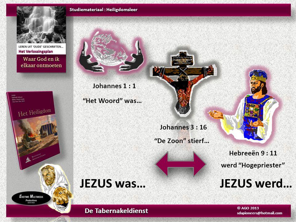"""Johannes 1 : 1 """"Het Woord"""" was… Hebreeën 9 : 11 werd """"Hogepriester"""" Johannes 3 : 16 """"De Zoon"""" stierf… JEZUS was… JEZUS werd… Studiemateriaal : Heiligd"""