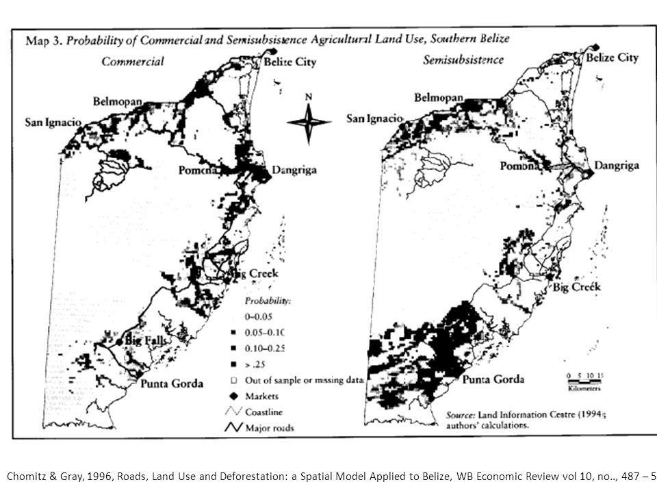 Chomitz & Gray, 1996, Roads, Land Use and Deforestation: a Spatial Model Applied to Belize, WB Economic Review vol 10, no.., 487 – 512.