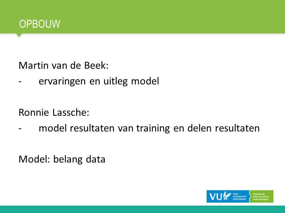 OPBOUW Martin van de Beek: -ervaringen en uitleg model Ronnie Lassche: -model resultaten van training en delen resultaten Model: belang data