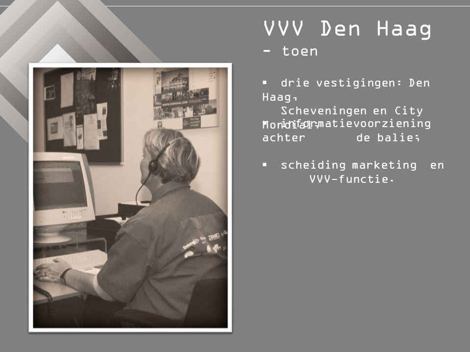  VVV-scan;  nieuwe visie; VVV Den Haag - nu  nieuw actieprogramma ' zoek de bezoeker op '.