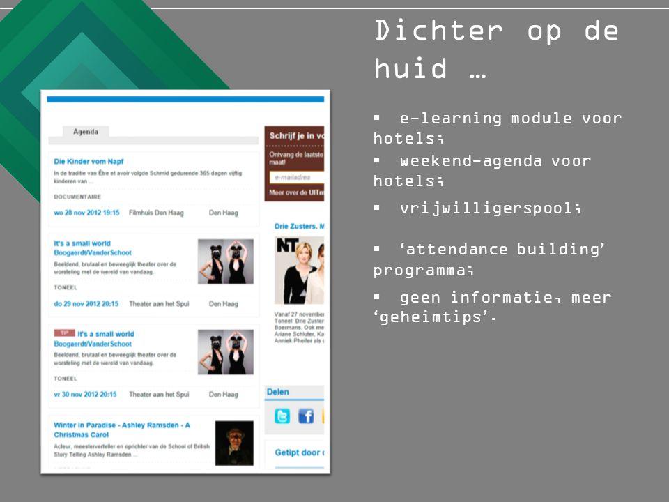  weekend-agenda voor hotels;  e-learning module voor hotels; Dichter op de huid …  vrijwilligerspool;  ' attendance building ' programma;  geen informatie, meer ' geheimtips '.