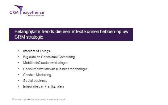 Download het volledige whitepaper via www.icustomer.nl Belangrijkste trends die een effect kunnen hebben op uw CRM strategie Internet of Things Big data en Contextual Computing Mobiliteit/Cloudontwikkelingen Consumerization van business technologie Context Marketing Social business Integratie van klantkanalen