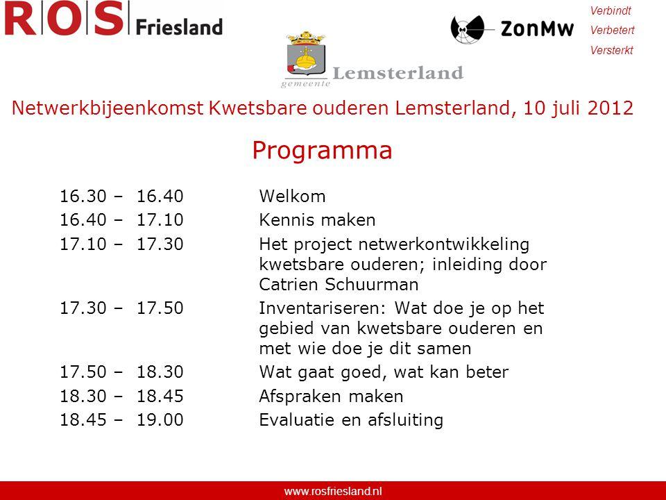 Netwerkbijeenkomst Kwetsbare ouderen Lemsterland, 10 juli 2012 Programma 16.30 – 16.40 Welkom 16.40 – 17.10 Kennis maken 17.10 – 17.30 Het project net