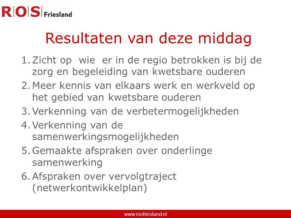 Resultaten van deze middag www.rosfriesland.nl 1.Zicht op wie er in de regio betrokken is bij de zorg en begeleiding van kwetsbare ouderen 2.Meer kenn