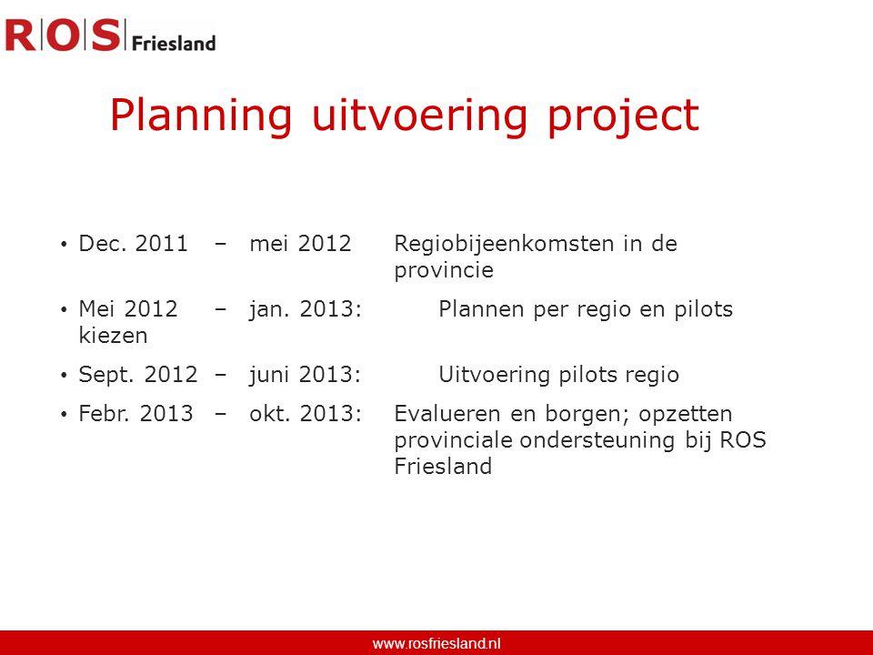 Dec. 2011 – mei 2012 Regiobijeenkomsten in de provincie Mei 2012 – jan. 2013:Plannen per regio en pilots kiezen Sept. 2012 – juni 2013: Uitvoering pil