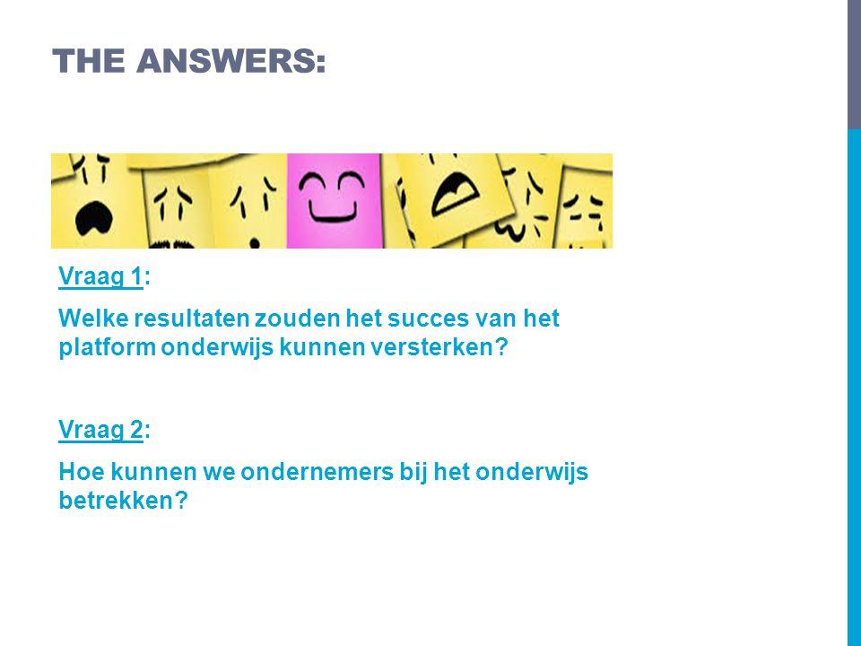 Vraag 1: Welke resultaten zouden het succes van het platform onderwijs kunnen versterken.
