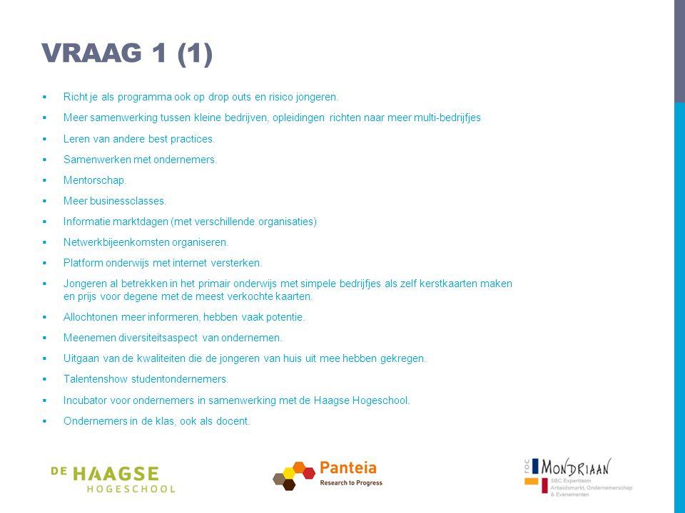 VRAAG 1 (1)  Richt je als programma ook op drop outs en risico jongeren.