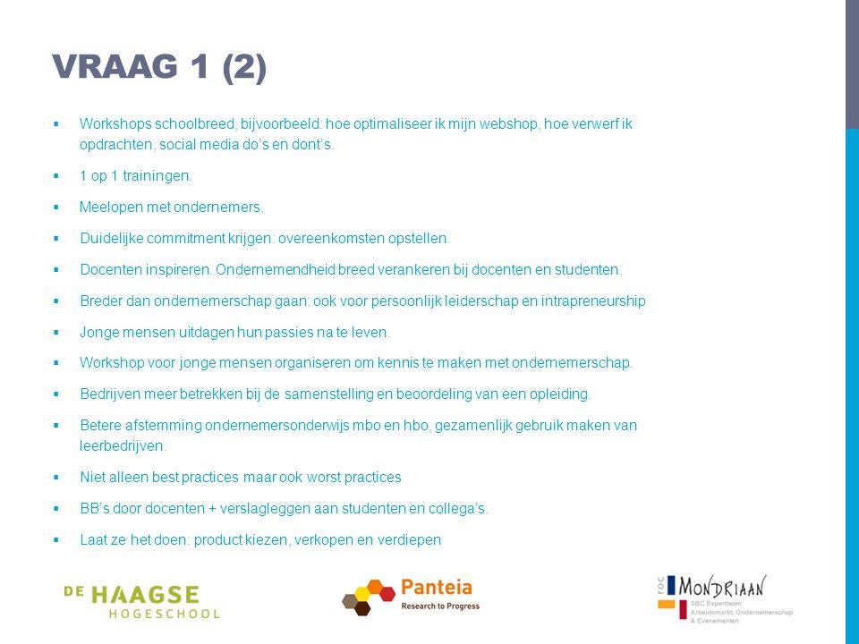 VRAAG 1 (2)  Workshops schoolbreed, bijvoorbeeld: hoe optimaliseer ik mijn webshop, hoe verwerf ik opdrachten, social media do's en dont's.