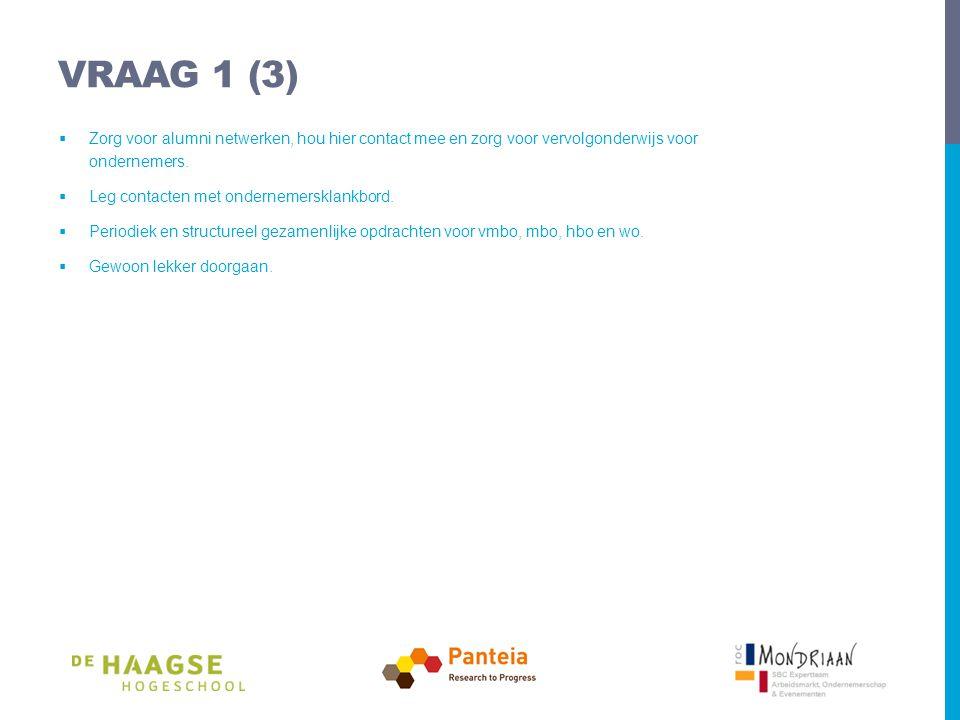 VRAAG 1 (3)  Zorg voor alumni netwerken, hou hier contact mee en zorg voor vervolgonderwijs voor ondernemers.
